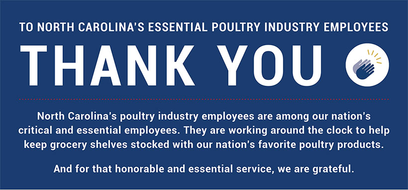 Thank you to North Carolina's Essential Poultry Industry Employees